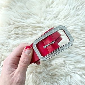 EXPRESS Red Leather encrusted Crystal belt